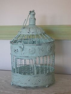 Shabby Chic Metal Bird Cage Up Cycled Distressed Aqua. $35.50, via Etsy.