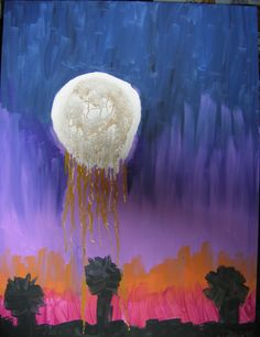 "Weeping Moon. Acrylic on canvas. 32"" x 42"" framed. By Ann Blackwell, DragonFibre Studios."