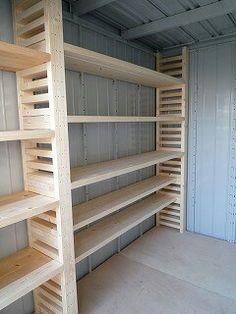本棚候補! Basement Shelving, Garage Storage Shelves, Shed Storage, Garage Organization, Basement Gym, Diy Pallet Projects, Woodworking Projects, Rustic Basement, Garage Workshop