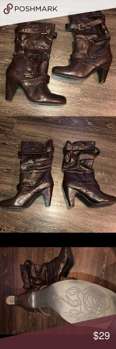Avenue brown strap buckle boots Avenue chocolate brown strap buckle boots with heel. Hardly worn. Avenue Shoes Heeled Boots