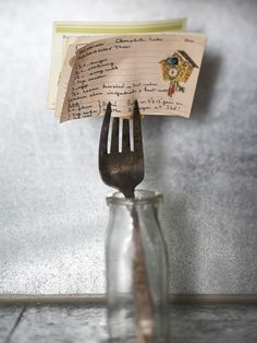 Repurposed - antique fork, family recipe and a old milk jar
