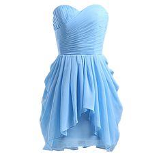 Wallbridal Ruched Top Ruffled Hem Short Chiffon Bridesmaid Dress at Amazon Women's Clothing store: