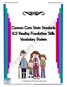 Common Core Reading Vocabulary Reading Foundation Skills K.3 from Best Practices 4 Teaching on TeachersNotebook.com (19 pages)  - In this file you will find posters defining and illustrating Common Core vocabulary for second grade reading foundation skills for standard K.3.