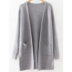 SheIn(sheinside) Grey Collarless Ribbed Split Side Pocket Long... ($24) ❤ liked on Polyvore featuring tops, cardigans, grey, ribbed top, gray cardigan, long gray cardigan, ribbed cardigan and embellished tops