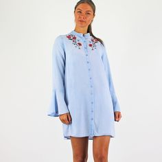 Buttons All The Way Down With Embroidered Flowers. Smart Casual Shirts, Pink Cadillac, Fashion Boutique, Chambray, Work Wear, Bell Sleeves, Light Blue, Cold Shoulder Dress, Blouses