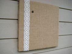 Pin Board in Natural Burlap and Lace memo board by jensdreamdecor