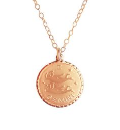 Gold Gemini Zodiac Charm on Apex Chain | Moon and Lola, $48