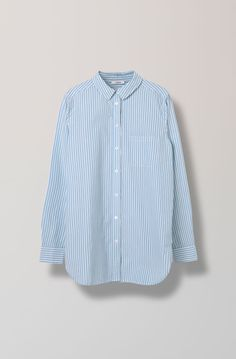 Favourite Shirt Cotton Shirt Striped, Pearl Blue