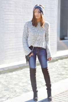 Plexida Turban Ymi jeans Black Thigh boots. #outfit #style #winter