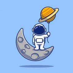 Cute Astronaut Standing On Moon Cartoon   Illustration.