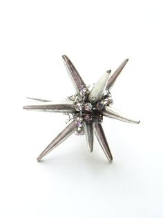 One of a Kind Crystal Spike Ring Silver by NakiaDesign on Etsy