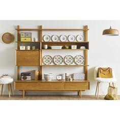 Regal/TV-Möbel im Vintage-Stil aus massiver Eiche, B 180cm Portobello | Maisons du Monde