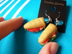 Sub earrings made in the 1:12 scale from polymer clay