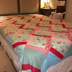 Nostalgic Aqua, Pink & Red Quilt... another Rose Tree Quilts' mergers of modern and vintage