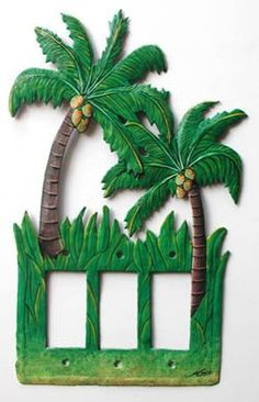 Tropical Switchplate Covers, Tropical Decor, Coconut Tree, Rocker Light Switch Plate Covers, Painted Metal, Light Switch Cover, SR-1147-3 by SwitchPlateDecor on Etsy #Lightswitch #lightswitchplates #lightswitchplate #switchplatecover #switchcover #lightswitch #lightswitchcovers #switchplatecover #lightswitchplate #switchplatecovers #paintedmetalswitchplate #metalswitchplates Decorative Light Switch Covers, Switch Plate Covers, Light Switch Plates, Tropical Design, Tropical Decor, Tree Drawings Pencil, Biscuit, Clay Art Projects, Painted Metal