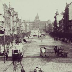 Tram at the Wenceslas Square in early 1900's