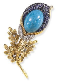 A TURQUOISE, SAPPHIRE AND DIAMOND BROOCH  Designed as a reeded gold and pavé-set sapphire sculpted flower, set with an oval turquoise pistil, enhanced by a pavé-set diamond sepal, to the reeded gold stem and leaves, enhanced by circular-cut diamonds, mounted in 14K gold