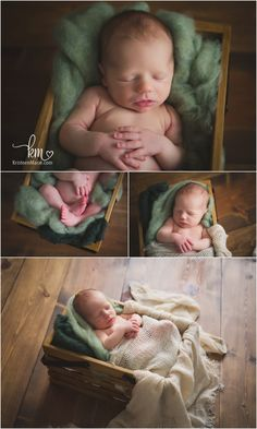 sleeping newborn photography - green and brown colors
