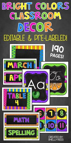 Classroom Decor is made easy and fun with this chalkboard classroom decor with bright colors! Perfect for elementary, middle school, and high school classrooms! Choose a classroom decor theme that is bright and colorful and will be cheery for students all year long. Includes editable chalkboard classroom decor pieces and pre-labeled decor pieces.
