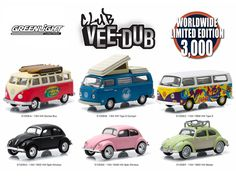 Greenlight Vee Dub Series, 6pc Diecast Car Set Limited Edition to 3,000pcs 1/64 Diecast Model Cars by Greenlight - Brand new 1:64 scale diecast model car of Greenlight Vee Dub Series, 6pc Diecast Car Set Limited Edition to 3,000pcs by Greenlight. Limited Edition. Brand New Box. Has Rubber Tires. Detailed Interior, Exterior. Officially Licensed Product. Each Model is Packed in Individual Blister Pack. Might come with a chase car instead of one of the cars in a set, but it is not guaranteed…