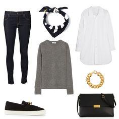 skinny jeans + white shirt + gray sweater + golden jewellery + black slip-ons