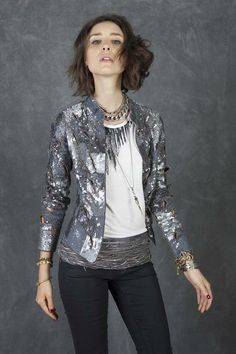 Cecilia de Bucourt Silver Hand embroidered sequin jacket with burnt out holes
