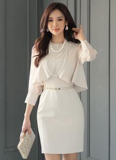 Bolero Cardigan Set Sleeveless Dress Korean Women's Fashion Shopping Mall, Styleonme. Korean Fashion Trends, Asian Fashion, Fashion Women, Girl Fashion, Fashion Dresses, Fashion Design, Trendy Dresses, Fashion Photo, Style Fashion