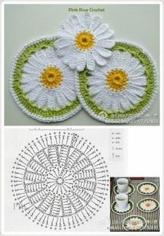 Crochet Daisy, Crochet Leaves, Crochet Circles, Crochet Mandala, Crochet Motif, Crochet Stitches, Crochet Flower Tutorial, Crochet Flower Patterns, Doily Patterns
