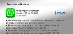 WhatsApp für iOS 10 mit Siri Update für Nachrichten & Anrufe - https://apfeleimer.de/2016/09/whatsapp-fuer-ios-10-mit-siri-update-fuer-nachrichten-anrufe - WhatsApp iOS 10 Update erhältlich. Überraschung: WhatsApp, das sich üblicherweise bei großen iOS Updates lange Zeit lässt, veröffentlicht das Update auf WhatsApp 2.16.10 für iOS 10. Mit dieser WhatsApp Version ist es nun möglich, über Siri eine WhatsApp Nachricht zu senden (Hey Siri, schicke eine...