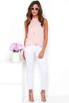 The Fifth Label Stay With Me Tank - Blush Pink Muscle Tee - $35.00