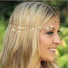 Yazilind Damen Hübsche Goldhaar Legierung Kette Kopfstück Kopfschmuck   Your #1 Source for Beauty Products