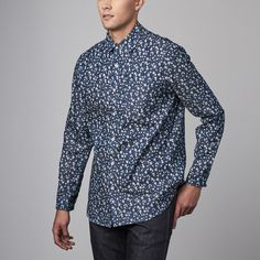 Johnny II Button Down Shirt // Blue Floral