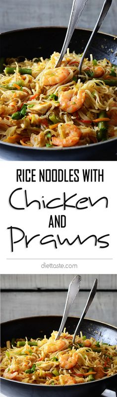 Rice Noodles with Chicken and Prawns - healthy stir-fry dish, full of vegetables, easily prepared for lunch or dinner Seafood Rice Recipe, Seafood Recipes, Chicken Recipes, Cooking Recipes, Fun Cooking, Healthy Dishes, Healthy Eating, Healthy Recipes, Stir Fry Dishes