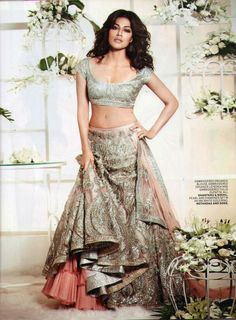 Chitrangada Singh In A Grey & Peach Shantanu & Nikhil #Lehenga For The L'Officiel Magazine Cover Shoot.