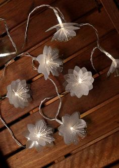 Fiber Optic Flare Petal String Lights, Dual Color Warm and Cool White