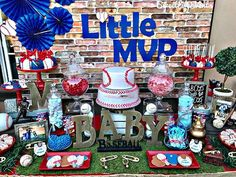 """It's a Boy!!!👶💙⚾ Thank you Anarosa for allowing Sweet Life Events to be part of your beautiful baby shower!❤🍭 #LittleMVP #baseball #SweetLifeEvents #DulceVida #candybuffet #candytable #desserttable #BabyShower #itsaboy #vintagebaseball #inlandempire #booknow #evedeso #eventdesignsource - posted by Sweet Life Events """"Dulce Vida"""" https://www.instagram.com/sweetlifeevents_. See more Baby Shower Designs at http://Evedeso.com"""