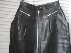 1980s vintage French black leather skirt by greencat00 on Etsy