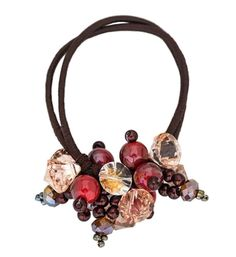 Elegant Beaded Crystal Scrunchie Elastics Ponytail Holder Hair Ties Coffee -- Click image for more details.