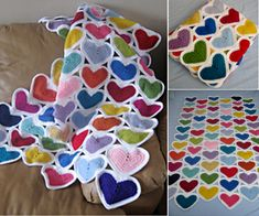 crochet heart blanket