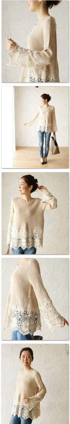 【楽天市場】「french」裾と袖のレースが素敵なニットトップス 1/17新作:cawaii