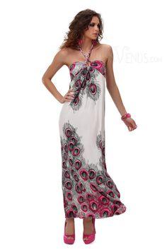 Clothing, Characteristic Peacock Print Sleeveless Halter Maxi Dress, $21.99
