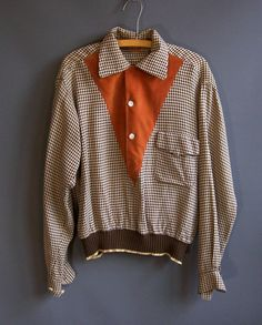 1940s houndstooth rayon gab gaucho shirt with amber velveteen