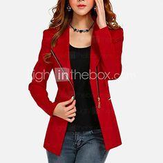 Manteau Femme,Couleur Pleine Grandes Tailles Sortie Vintage Manches ¾ Manches Longues Rouge Noir Coton Autres Fin Automne Hiver de 2017 ? $17.99