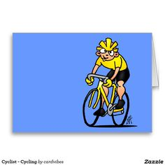 Cyclist - Cycling Greeting Card #Zazzle #Cardvibes #Tekenaartje #SOLD