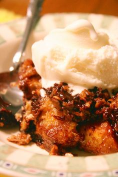 Pumpkin Bread Pudding w/Candied Maple Pecans and Whipped Cream
