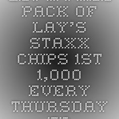 Get a Free Pack of Lay's Staxx Chips - 1st 1,000 Every Thursday - Free Product Samples