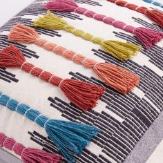 Multicolor Embroidered Tassel Throw Pillow - V # gesticktes mehrfarbenquasten-wurfs-kissen - v # # coussin à pompon brodé multicolore - v # cojín borla multicolor bordada - v Weaving Textiles, Weaving Art, Weaving Patterns, Loom Weaving, Beaded Embroidery, Embroidery Stitches, Embroidery Patterns, Hand Embroidery, Yarn Crafts