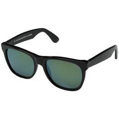 Super Classic Patrol (Shiny Black/Bottle Green) Fashion Sunglasses ($160) ❤ liked on Polyvore featuring accessories, eyewear, sunglasses, lens glasses, uv protection sunglasses, uv protection glasses, retrosuperfuture sunglasses and plastic lens glasses