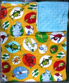 Baby Blanket - Dr. Seuss Flannel with Blue Dimple Minky