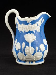 United States Pottery Company, blue and white pitcher, American, about 1855.